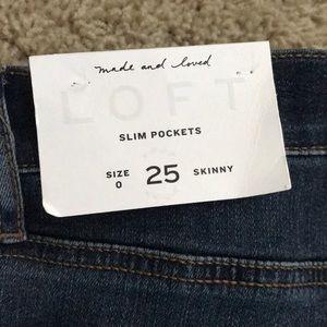 Loft, size 0, slim pocket skinny jeans medium wash